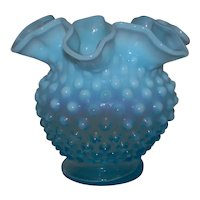 Vintage 1939-1955 Fenton Hobnail Blue Opalescent Round Crimped Bowl