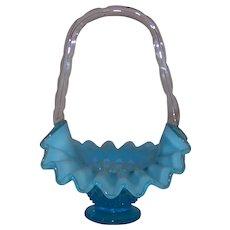 Vintage 1939-1955 Fenton Hobnail Blue Opalescent Bridal Basket