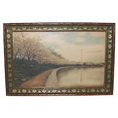 Vintage Royal Hubert Carlock Framed 5 x 7 Hand Tinted Photograph of Washington Monument and Cherry Blossom Trees