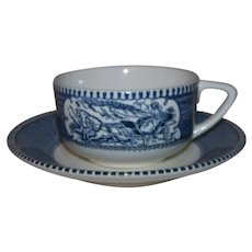 Vintage 1960's Royal China Currier & Ives Pattern Flat Cup & Saucer Set