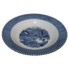 Vintage 1960's Royal China Currier & Ives Pattern Rim Soup Bowl Set