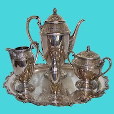 Vintage 1933 Rogers Brothers 1847 International Marquise Pattern Silverplate Coffee Service