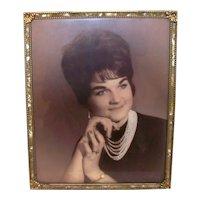 "Vintage 8"" x 10"" 1960's Faux Gold & Pearlized Studio Desk Display  Portrait Frame"