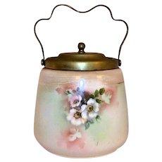 Vintage 1930's Victorian Barrel Style English Porcelain Biscuit Jar