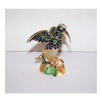 Vintage Welforth Enameled Blue |& Green Austrian Crystal Encrusted Hummingbird Perfume Bottle
