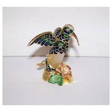 Vintage Welforth Enameled Blue  & Green Austrian Crystal Encrusted Hummingbird Perfume Bottle