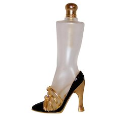 Vintage Black & Gold Art Glass High Heel Dress Shoe  Glass Perfume Bottle