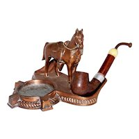 Vintage 1940's Figural Cast Copper Western Horse With Pipe Holder & Ashtray