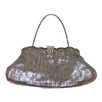 Vintage 1940's Bridesmaids Gifts Whiting & Davis Silver Mesh Clutch Purse