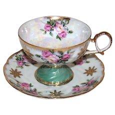 Vintage Royal Halsey Opalescent China Cup & Saucer Set