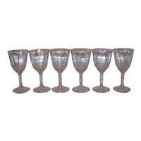 Vintage Art Deco Clear Optic Paneled Stemware Set