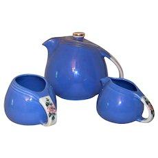 Vintage Hall China Rose Parade Teapot, Sugar, Creamer Set