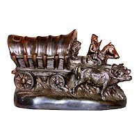 Vintage Dodge Company Bronze Frontier Wagon Figural Bookend