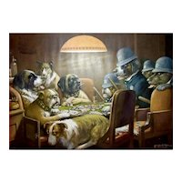 Vintage C M. Coolidge Dogs Playing Cards Lithograph