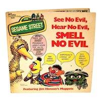 Vintage 1975 Golden Book Sesame Street See No Evil, Hear No Evil, Smell No Evil Hardback Children's Book