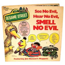 Vintage 1975 Golden Book Sesame Street See No Evil, Hear No Evil, Smell No Evil Hardback Children's Book