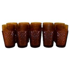 Vintage Indiana Glass Company Amber Diamond Point Glass Tumbler Set
