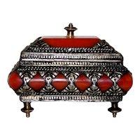Vintage Carnelian Stone Decorated Boudoir Jewelry Box
