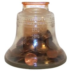 Vintage 1976 Anchor Hocking Clear Glass Liberty Bell Still Bank