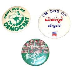 Vintage 1970's Political Pinback Buttons