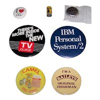 Vintage 1970's-1980's American Consumer Products Advertising Campaign Pinback Buttons