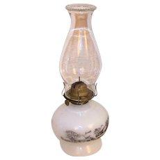 Vintage Currier & Ives Milk Glass Kerosene Table Lamp