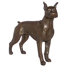 Vintage 1920's-1930's Large Jules Moigniez Of Vienna Bronze Figural English Boxer Dog