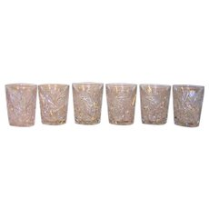 Vintage Pinwheel Cut Crystal Double Whiskey Glasses
