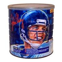 Vintage Maxwell House Coffee Tin Featuring NFL Quarterback John Elway