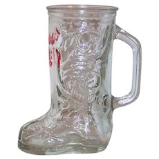Vintage Coors Beer Advertising Western Boot Styled Glass Mug
