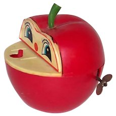 Vintage 1960's Bruco Mela Apple & Worm Mechanical Bank