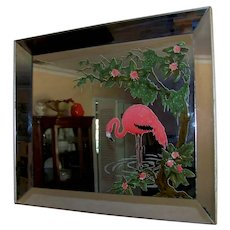 Vintage 1940's=50's Mid-Century Turner Pink Flamingo Wall Mirror