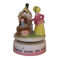 Vintage Ceramic Musical Box Nursery Rhyme There Was An Old Woman Who Lived In A Shoe