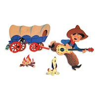Vintage 1950 Dolly Toy Company Die Cut Western Theme Children's Wall Art