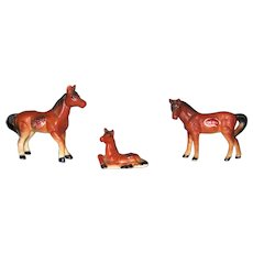 Vintage Japan Bone China Horse Miniature Figurines