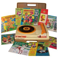 Vintage 1978 Fisher Price Children's Electric Turntable Record Player and 45 RPM Record Set