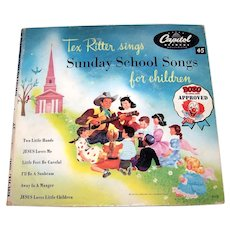 Vintage  1950's Tex Ritter Sings Sunday School Songs For Children 45 RPM Record Set