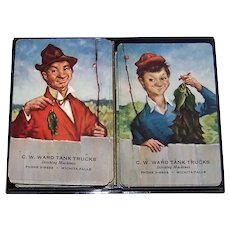 Vintage 1940's Brown & Bigelow Advertising Double Set Of Playing Cards