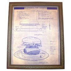 Vintage 1976 Framed Blueprints For Cooking A Deluxe Hamburger By Portal Publications Of Corte Madera, California