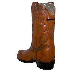 Vintage 1981 Relic Arts Ltd. Western Boot Still Bank