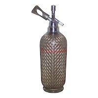 Vintage 1930's Sparkletts Wire Mesh Glass Seltzer Bottle