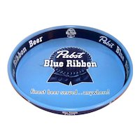 Vintage 1950 Pabst Blue Ribbon Round Metal Beer Service Tray