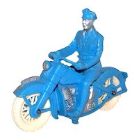 Vintage 1940's Auburn Rubber Company Toy Motorcycle Policeman Figure