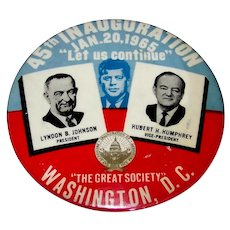 Vintage Political 1965 President Lyndon Johnson & Vice-President Hubert Humphrey 45th Inauguration Pin-Back Button