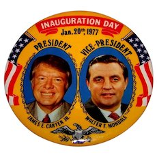 Vintage 1977 President James Carter & Vice-President Walter Mondale Inauguration Day Pin-Back Button