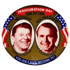 Vintage 1985 President Ronald Reagan & Vice-President George H. Bush Inauguration Day Pin-Back Button