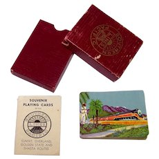 Vintage 1940's Southern Pacific Railroad Passenger Souvenir & Advertising Playing Cards