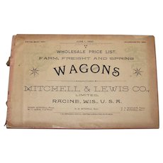 Antique 1890 Mitchell & Lewis Wagons Wholesale Price Catalog
