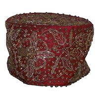 Vintage Neiman Marcus Middle-Eastern Fez Style Ladies Hand-Beaded Hat