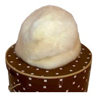 Vintage 1950's Koslows Of Dallas Texas White Mink Fur Ladies Russian Diplomat Style Hat